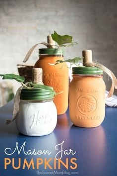 These DIY Painted Mason Jar Pumpkins are gorgeous country chic fall decor and so easy to make! You'll use them year after year! These DIY Painted Pumpkin Mason Jars are gorgeous country chic fall decor and so easy to make! You'll use them year after year! Mason Jar Pumpkin, Pumpkin Spice Candle, Fall Mason Jars, Mason Jar Crafts, Mason Jar Diy, Diy Pumpkin, Pumpkin Crafts, Bottle Crafts, Mason Jar Candle Holders
