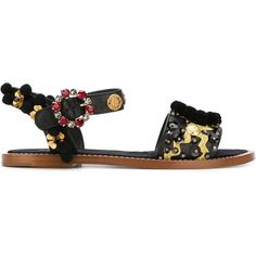 Dolce & Gabbana embellished flat sandals (€1.110) ❤ liked on Polyvore featuring shoes, sandals, black, flat leather sandals, ankle strap flat sandals, black flats, black flat shoes and ankle strap sandals