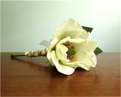 Charm Bouquet - Silk Magnolia Flower Bridesmaid Bouquet in choice of sizes and colors including Ivory, Gold, and Deep Red