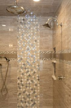 Shower: Tile, Marble Attache, Travertine, 12x24; Accent: Tile, Uptown Glass Fabric, Fawn, 4x12; Decorative Stone and Glass Baroque: Blanc Et Beige, Elume Blend Mosaic, Maple Rum