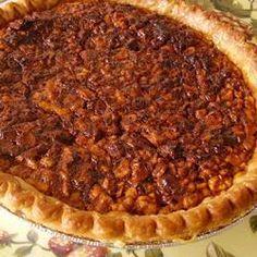 English Walnut Pie....think of a pecan pie with walnuts, a sweet and gooey pie...5 stars by Allrecipes.com-RECIPE FOLLOWS