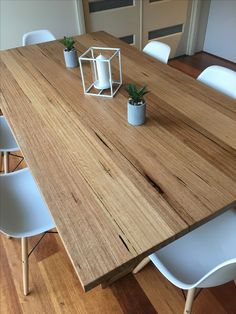 Recycled messmate dining table with wooden legs – Hazir Site Timber Dining Table, Oak Coffee Table, Dinning Table, Dining Area, Dining Room, Recycled Timber Furniture, Industrial Furniture, Wooden Leg, House Design