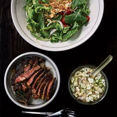 For this baby kale and steak salad, Top Chef Season 9 winner Paul Qui came up with a sugarless version of nuoc cham, the classic Vietnamese dipping sauce.