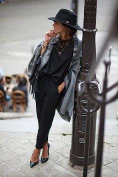 Zoé Alalouch - Le Temps Des Cerises Lace Top, Le Temps Des Cerises Cape, Herman Headwear Hat, Le Temps Des Cerises Trousers - PARIS IN THE FALL