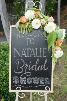 Bridal shower welcome sign. See more bridal shower ideas and proper bridal shower etiquette at www.one-stop-party-ideas.com