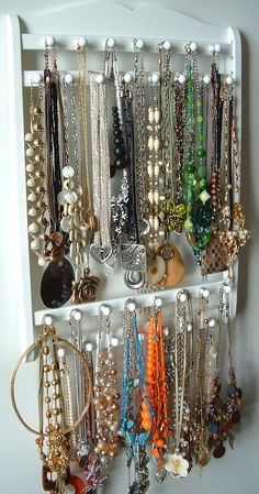 Jewelry Holder Hangs 30  120 Necklaces Oak Hardwood Pick