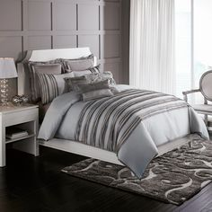"I little on the ""ice"" looking side. Perfect for winter or even a daring fresh Spring! Nicole Miller Affinia Duvet Cover, 100% Cotton - Bed Bath & Beyond  $139.99"