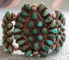 Glorious Old Vintage ZUNI Sterling Silver Petit Point Cluster Cuff BRACELET #AUTHENTICVINTAGENATIVEAMERICANJEWELRY