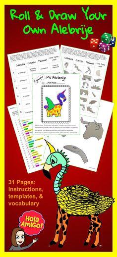 Roll & Draw Your Own Alebrije Spanish Teacher, Spanish Classroom, Teaching Spanish, Bilingual Classroom, Bilingual Education, Classroom Fun, Middle School Spanish, Elementary Spanish, Elementary Art