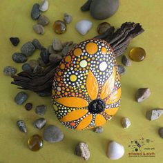 Painted Rock Hand Painted Stone Rock Art by etherealandearth