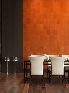 Park Hyatt shanghai - interesting wall treatment and it's #orange -- Yes, and what's that flooring?  Goes nicely with the orange wall.