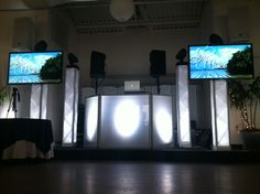 DJ Set Up   4 LED Towers   2 TVs   4 Spot Lights   Facade   Jen & Mike   Pier House   NJ Wedding DJ   NJ Weddings