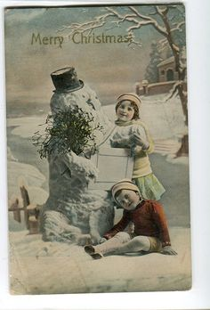 Vintage Christmas card with a gel finish -- a hand-tinted photo of a little boy and girl making a snowman. View from the Birdhouse: Weekend Window Shopping at Birdhouse Books Victorian Christmas, Vintage Christmas Ornaments, Retro Christmas, Christmas Pictures, Christmas Snowman, Christmas Greetings, Kids Christmas, Christmas Postcards, Xmas Cards