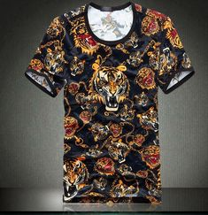 2017 New Arrival Real Casual Broadcloth Cotton Print No Men's Summer Clothing Male Pleuche Slim O-neck Short-sleeve T-shirt