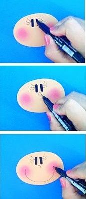 How to make a face :) Craft Tutorials, Craft Projects, Projects To Try, Doll Face Paint, Snowman Faces, Clothespin Dolls, Paper Crafts Origami, Adult Crafts, Foam Crafts