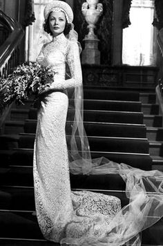 Gene Tierney in a wedding gown designed by Oleg Cassini in the movie The Razor's Edge