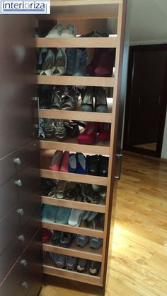 Stylish Industrial Shoe Rack Designs Ideas You Will Love 43 - Home Decor Ideas 2020 Closet Bedroom, Closet Space, Walk In Closet, Master Closet, Vertical Shoe Rack, Industrial Shoe Rack, Rack Design, Shoe Organizer, Wardrobe Design
