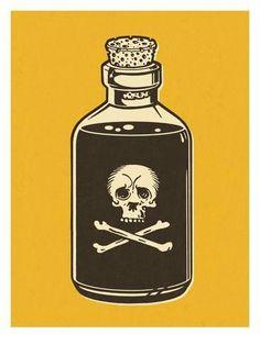 Art Print: Bottle of Poison on Yellow Background Art Print by Pop Ink - CSA Images : 24x18in Tatoo, Bottle Tattoo, Pop Art Vintage, Dessin Tattoo, Body Art, Art Drawings, Arte Digital, Tattoo Designs, Illustration Art