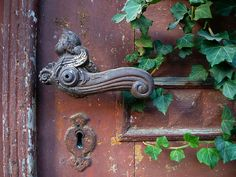 The best of both worlds, gardens and beautiful old doors and handles, not to mention the keyhole.