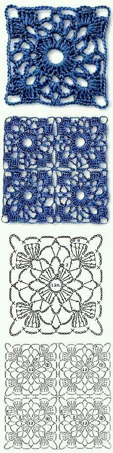 Transcendent Crochet a Solid Granny Square Ideas. Inconceivable Crochet a Solid Granny Square Ideas. Crochet Motifs, Crochet Blocks, Crochet Diagram, Crochet Chart, Crochet Squares, Love Crochet, Crochet Stitches Patterns, Crochet Designs, Crochet Doilies