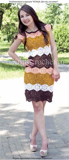 Связанное крючком из 6-гранных мотивов платье 48-50 размера.