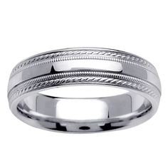 14k White Gold Men's Fancy Wedding Band - Overstock™ Shopping - Big Discounts on Men's Rings