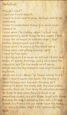 This can help fiction writers understand the reader. This is a universal list. Perfect.