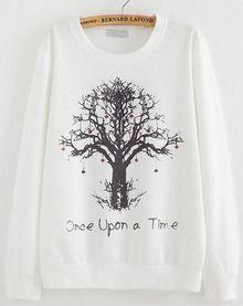 White Long Sleeve Tree Print Loose Sweatshirt US$14.00