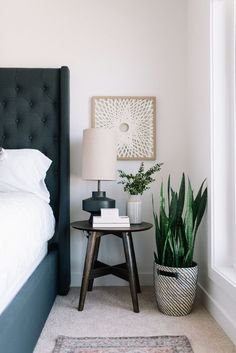 Bedside table decor - Moving Up! A Peek at our Bedroom Refresh – Bedside table decor Bedside Table Styling, Bedside Table Decor, Modern Bedside Table, Bedside Tables, Round Nightstand, Side Tables Bedroom, Bed Side Lamps, Kids Nightstands, Diy Home Decor Bedroom