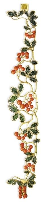 A FINE ART NOUVEAU CORAL, ENAMEL, AND GOLD CHOKER, BY RENÉ LALIQUE. Designed as intertwined openwork holly leaves in green pique-à-jour enamelled gold, with clusters of coral berries, circa 1900, 35.0 cm long, in a René Lalique 20 rue Thérèse Paris green leather case. Signed Lalique for René Lalique. #ArtNouveau #Lalique #Choker