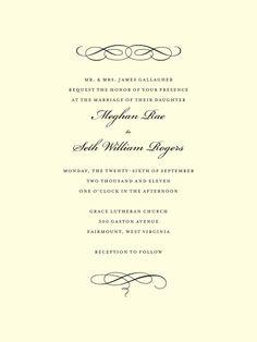 Ever arrow signature white wedding invitations in black or seafoam scroll letterpress wedding invitations in black or charcoal sarah hawkins designs filmwisefo Gallery