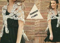 Patrones Crochet: Chal triangulos de flores vintage crochet