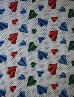 Woven, soft Geometric vintage fabric,  what could a Girl make with this......  maybe........ a skirt?