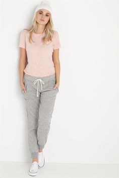 Grey sweatpants with a slim fit