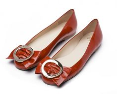 Frances 2 Red patent leather bow flats