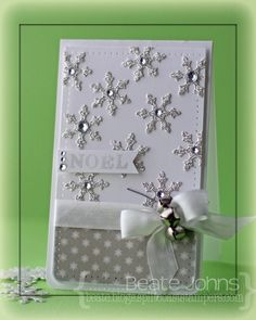silver snowflakes and jingle bells card - bjl