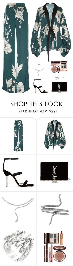 """Untitled #5248"" by mdmsb on Polyvore featuring Johanna Ortiz, Sophia Webster, Yves Saint Laurent, Damiani, Charlotte Tilbury and Tiffany & Co."