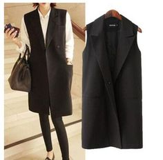 Brand New 2015 Fashion Women's Outerwear Coats Elegant Middle-long Design Sleevless Black Color Blazer Vest Waistcoat Plus Size