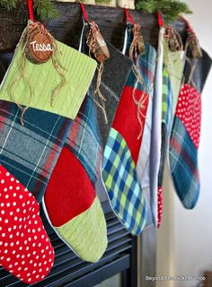 12 Days of Christmas Patchwork Stockings from upcycled clothing http://bec4-beyondthepicketfence.blogspot.com/2014/12/12-days-of-christmas-day-10-stockings.html