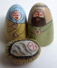 Nativity Scene Figures Painted on Rocks