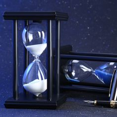 Buy 30 Minutes inch Colorful Hourglass Sandglass Sand Clock Timers Wooden Frame Creative Gift Modern Home Decorations Ornaments Timer Clock, Iron Steel, Table Top Display, Home Gadgets, Hourglass, Creative Gifts, Wooden Frames, Black And White, Modern