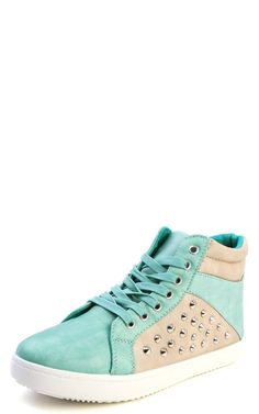 9fdf3b256429b Nature Breeze Amani-03hi High Top Spike Studded Sneakers SEA GREEN Studded  Sneakers