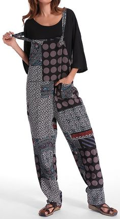 US$19.86 Gracila Polka Dot Print Patchwork Pocket Loose Jumpsuit For Women