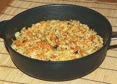 Kleiner Bratreis mit Shimeji Pilzen, Möhren, Kohl und Kräutern mit Miso Würzung. Wieder gut gelungen in der Gastrolux Pfanne. <3