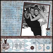 Gorgeous wedding day scrapbook page layout idea! Page made  with the full RSVP Chic line including the die cut tags. Awesome ideas for scrapbooking by Bisous!