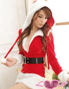 Stylish Hot Sell Sexy V-neck Fur Hooded Christmas Costumes          _Christmas Outfit_Christmas Costumes_Wholesalekingdom.net