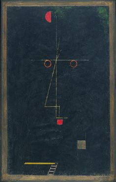Paul Klee - Portrait of an Equilibrist, 1927. Oil and collage on cardboard over wood with painted plaster border, 63.2 x 40 cm. / http://www.moma.org/collection/provenance/provenance_object.php?object_id=35209