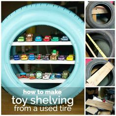 "Totally need to do this!!!!!! With the ""Cars"" toys, it totally needs to be an old whitewall tire!!!!"