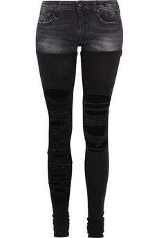 R13 Chaps shredded low-rise skinny jeans | NET-A-PORTER