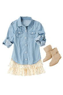 Chambray Shirt at Crazy 8 Little Girl Outfits, My Little Girl, My Baby Girl, Toddler Outfits, Outfits Niños, Kids Outfits, Toddler Fashion, Kids Fashion, Fashion Clothes